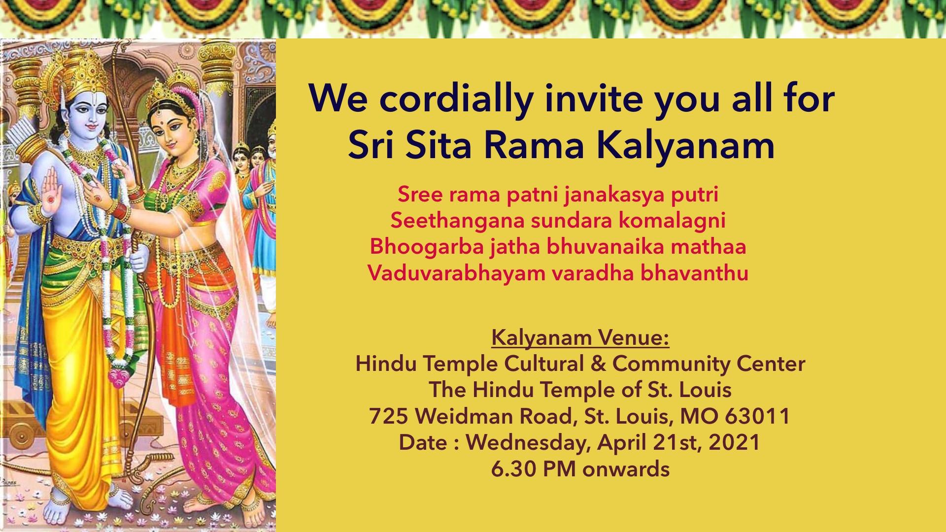 Sri Rama Navami @ 04/21 6.30 PM