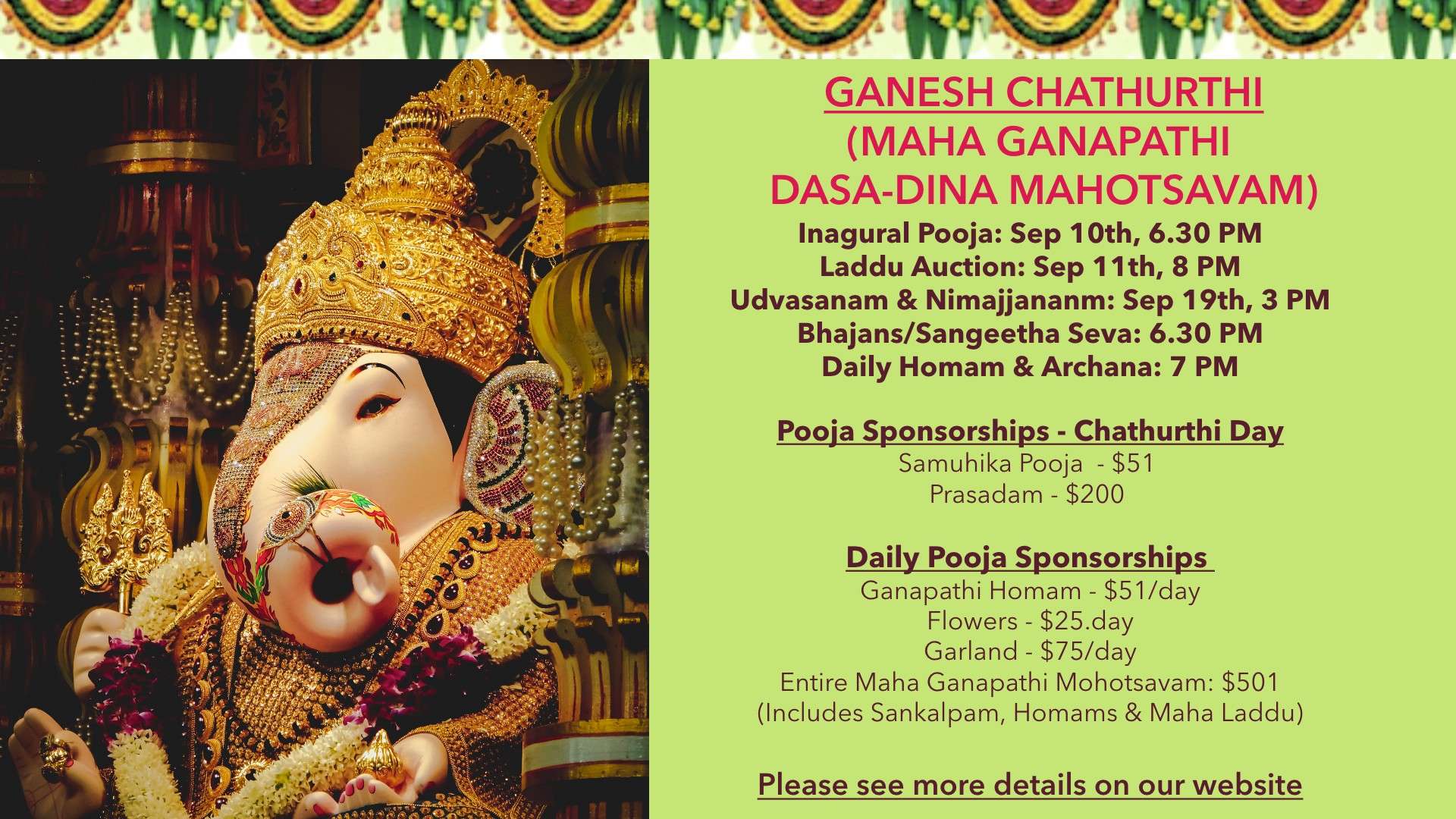 GANESH CHATHURTHI, SEP 10th to 19th