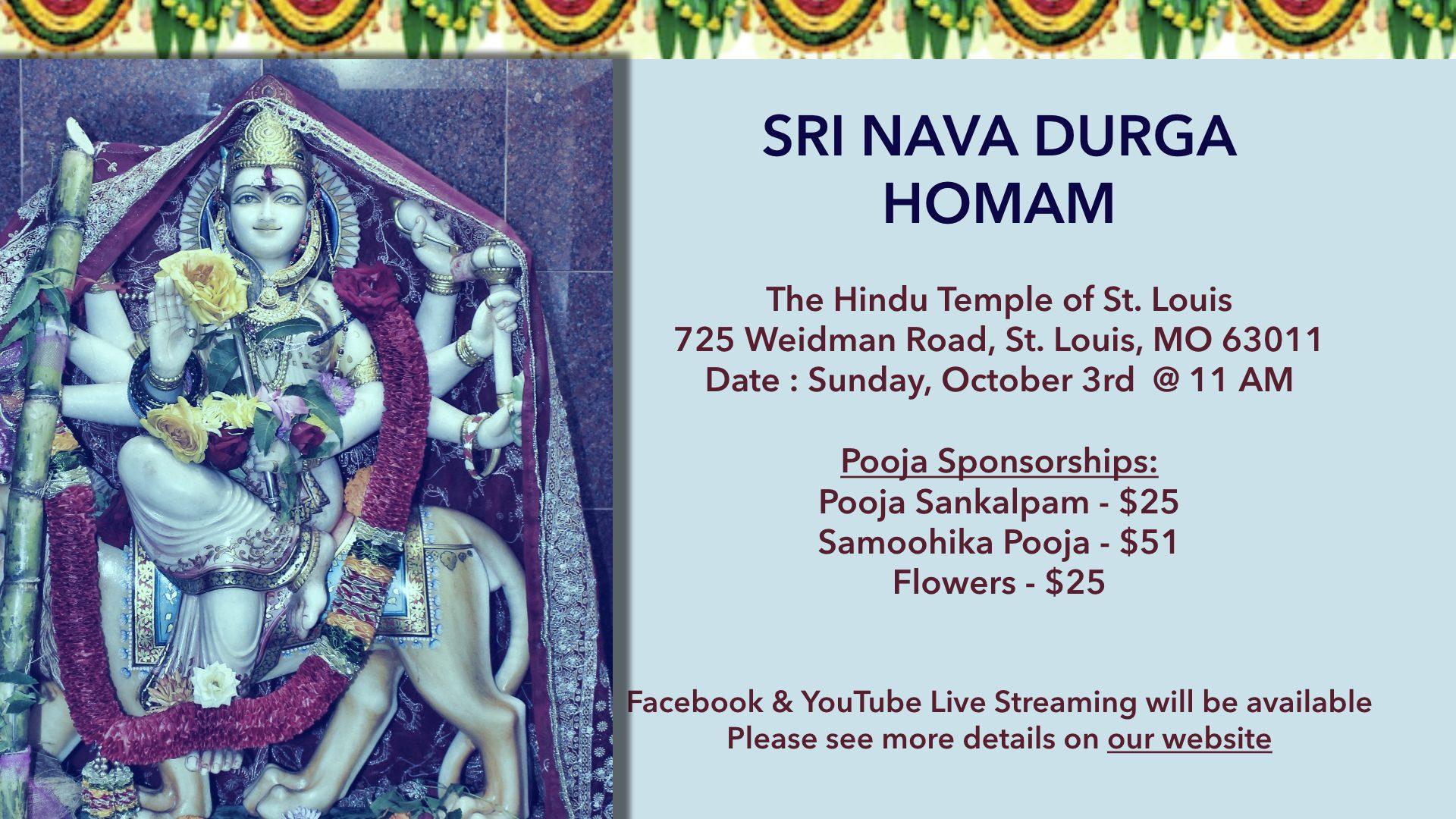 Nava Durga Homam @ 10/3, 11 AM