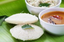B-Idli (with coconut chutney and Sambar)