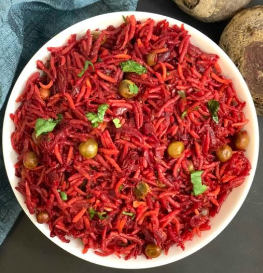 Beet Root Rice with Raita